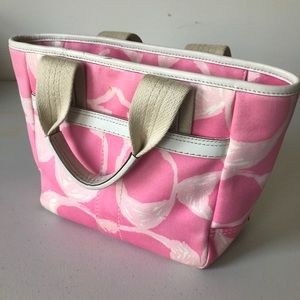 Coach Handbag Purse Pink with White Leather